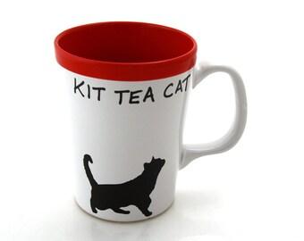 Cat Mug Kit Tea Cat , Cat lover, pet owner, tea drinker, choice of red, blue or green