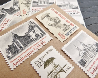City in Grey .. UNused Vintage Postage Stamps  .. post 5 letters