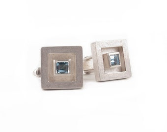 silver cuff links with aquamarine