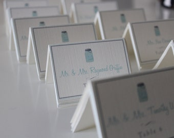 Wedding Placecards // Mason Jar Design Escprt Card // Wedding Guest Name & Table number placecards