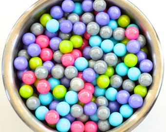 Neon Girls Pink/Purple/gray/ Lime  Pearl Candy Beads- Edible Cupcake Decorations (2 ounces)