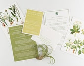 Wedding Invitation, Vintage Botanical Garden Wedding Collection, Rustic Garden Wedding Themed Invitations