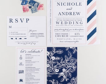 Wedding Invitation, New England Coastal Wedding Collection, Nautical Blush Pink and Navy Compass Rose Theme