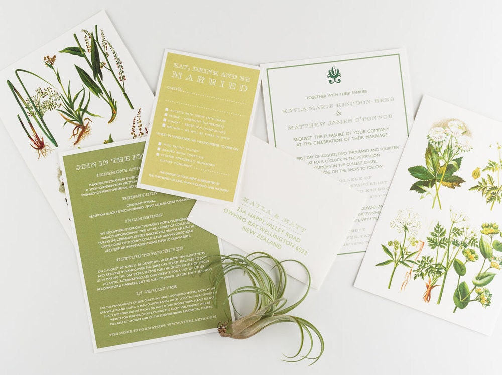 Garden Wedding Invitations: Wedding Invitation Vintage Botanical Garden Wedding