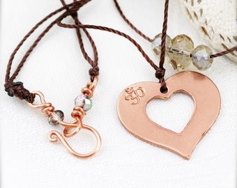 Copper heart double strands necklace - hand stamped