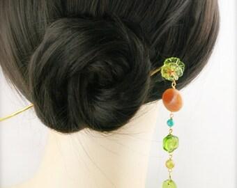 Autumn blossom hair stick (HS) - red aventurine and quartzite.