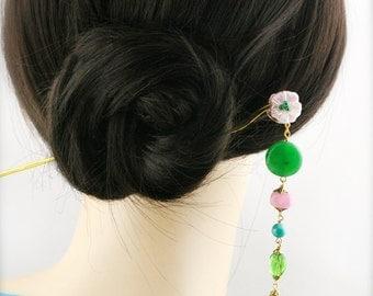 Melon blossom hair stick (HS) - jade and quartzite