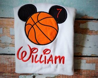 Mickey Mouse Basketball Shirt, Basketball Mickey Shirt, Boys Birthday Basketball Shirt, Boys Birthday Shirt