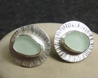 Seaglass Disc Earrings
