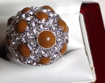 EAMES Art Modernist Ring Dome Cluster Crystals and Enamel Big and Bold  Domed design Rhodium Plate Size 9 can be Thumb ring  On SaLe Now
