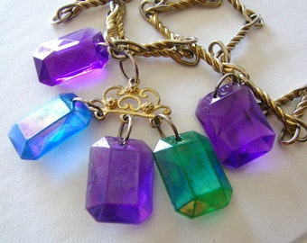 Vintage blue, purple, green and gold  beaded jewel necklace