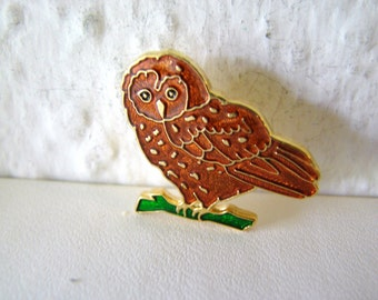 Vintage cloisonne owl brooch in gold, green and brown (I9)