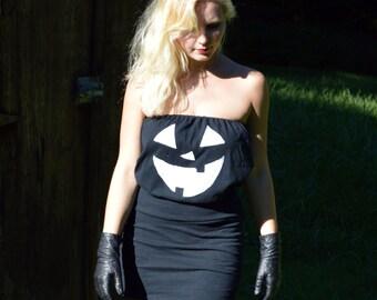 Jack O Lantern Halloween Costume Womens Scary Black Pumpkin Mini Dress