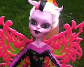 Funky Fairy, Custom High Fashion Monster Doll, OOAK Repaint Art Doll Collectible