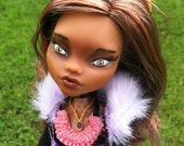 High Fashion Monster Doll, One of a Kind Repainted Doll, Pretty Little Wolf, Custom Monster Doll, OOAK Repaint Art Doll
