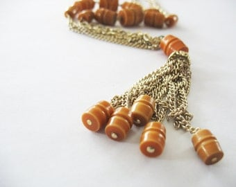Tassel Y Necklace Gold Aluminum Caramel Barrel 1960's Beads Chain Vintage Jewelry