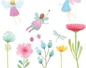 Fabric Wall Decal - Fairy Garden (reusable) NO PVC