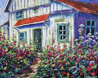 Holly Hocks and Wild Flowers Oil painting created by Prankearts
