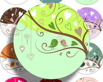 Love tree for large circles for pocket mirrors and more digital collage sheet No.1428