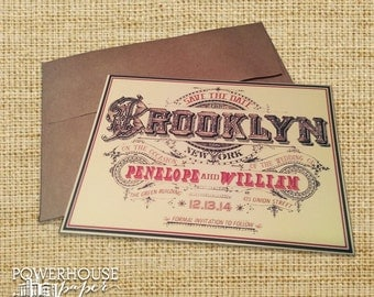 Brooklyn  Vintage Save the Date
