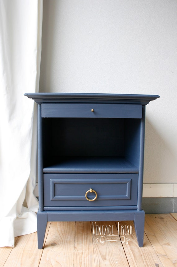 Items Similar To SOLD Painted Nightstand/ End Table Navy Blue With Brass  Hardware On Etsy