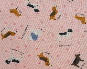 Clearance -- Full Yard Sale , Dogs Collection, Lovely Dogs Fabric in Dirty Pink