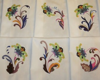 Exotic Wildflowers Machine Embroidered Quilt blocks Set