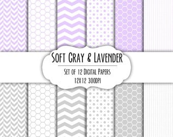Lavender Purple & Soft Gray Digital Scrapbook Paper 12x12 - Set of 12 - Dots, Chevron, Hexagon - Instant Download - Item# 8117
