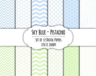 Sky Blue & Pistachio Green Digital Scrapbook Paper 12x12 - Set of 12 - Dots, Chevron, Hexagon - Instant Download - Item# 8189