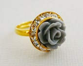 adjustable Ring, Flower Grey Rose Clear Czech Rhinestones, Gold Tone , Bridesmaid jewelry
