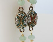 Mosaic Drop Earrings, Oval, Chalcedony Gemstones, Vintage Mosaic, 14kt Gold Filled, Long
