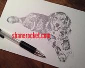 Custom pet ORIGINAL 5x7 pencil sketch