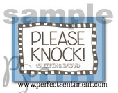 Please Knock sign -BLUE stripe-
