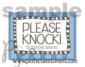 Please Knock sign -BLUE stripe-