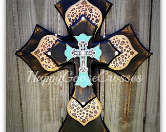 "Wall Cross - Wood Cross - Medium - As seen on the hit CBS show ""The Odd Couple"" - Antiqued Black & Turquoise with Leopard/Cheetah"