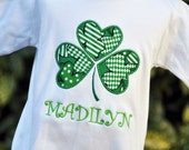 Personalized St. Patricks Day Shamrock Girls Shirt