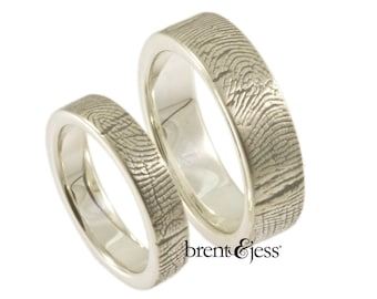 4mm/6mm Sterling Silver Custom Wedding rings or Commitment Band With Fingerprint Wrapped around the Outside