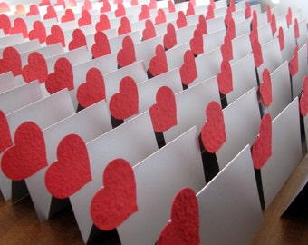 Wedding Placecard  Silver Tent Style Placecard with Red Heart Shaped Plantable Paper