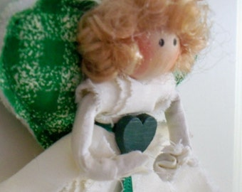 Angel Ornament With Green Hearts
