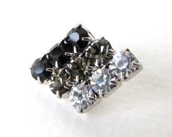 Vintage Rhinestone Buttons Crystal Clear Black Diamond Metal Shank Czech 21mm but0230 (2)
