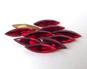 Vintage Navette Rhinestone Siam Ruby Red Glass Jewel 15x4mm rhs0511 (10)
