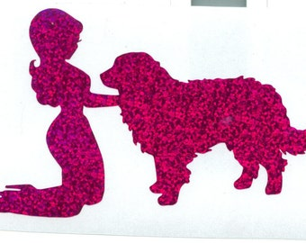 Bernese Mountain Dog and Pin Up Silhouette, Purple Glitter Vinyl Decal