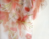Hand Painted Scarf Coral Lilies/ Floral lightweight scarf/ Silk chiffon scarf/ Light Pink silk scarves/ Gift for her/ Silk Painting Serti