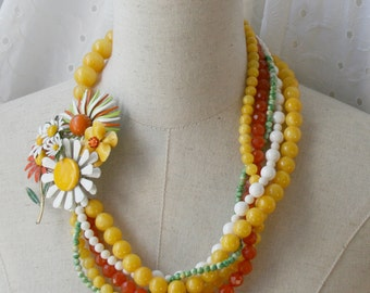 Orange yellow Daisy Vintage Brooch Collage necklace Sunshine Beaded Multi Strand Chunky statement Bright Spring Green White Unique Gift