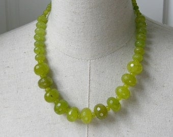 """LIme Green  necklace  Chunky Acid Translucent Faceted peridot  Beaded  """"margarita"""" Neon Grass statement Peridot Moss"""