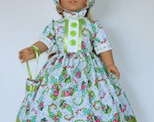 Colonial Prarrie Dress designed for American Girl Felicity,Elizabeth or Kirsten 3 pc.  No. 595