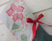Vintage Embroidery Christmas Stocking, Shabby Chic, Red Pink Green