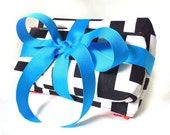zip pouch set - black and white graphic print with turquoise and orange accents