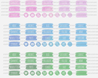 Watercolor Blog Buttons - use for your blog, website, or portfolio. In 3 colors!