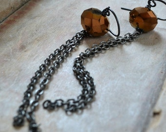 Glass and chain earrings, copper colored glass, silver, boho jewelry - Sway